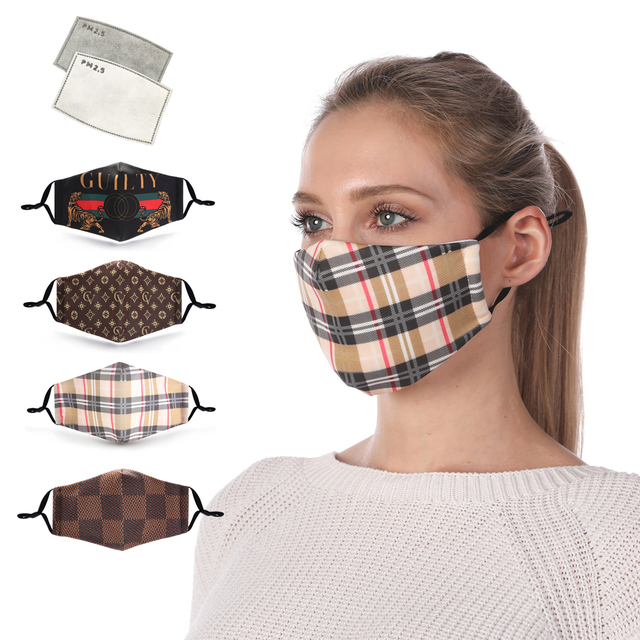 Zohra Plaid Printing Reusable Protective PM2.5 Filter Mouth Mask Anti Dust Face mask Windproof Adjustable Face Masks
