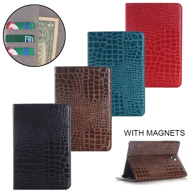 Luxury Crocodile Pattern Leather Case for Samsung Galaxy Tab A 9.7 SM-T550 SM-T555 Stand Smart Cover for T550 T555 <font><b>P555</b></font> Funda image