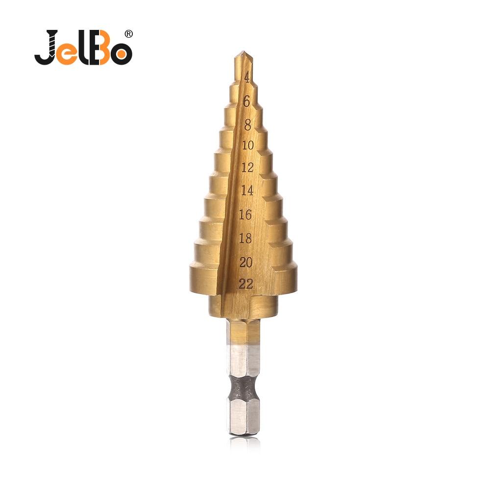 JelBo 4-22mm Juego de herramientas Broca de paso Broca de paso Broca hexagonal Cono de titanio paso Herramientas eléctricas Agujero Herramientas Avellanado 1 piezas