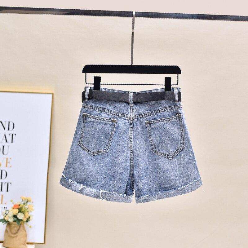 2020 New Printed Denim Shorts Pant Jean Women Wide Leg Summer Blue Women Highwaisted Jeans Plus Size Short Femme 2