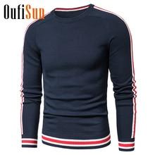 Oufisun, мужские,, зимние, повседневные, вязанные, хлопок, в полоску, свитера, пуловер, для мужчин, осень, новая мода, o-образный вырез, свитер, пальто для мужчин, 3XL