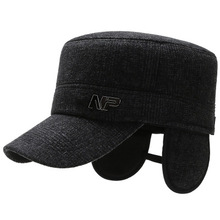 2020 new middle-aged and old hat men #8217 s autumn and winter warmth plus velvet thickening dad grandpa hat earmuffs flat top hat old cheap Adult COTTON Unisex Casual Adjustable One Size Solid Baseball Caps