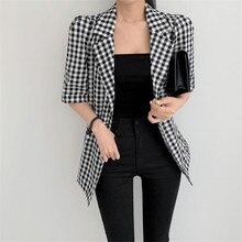 HziriP Vintage Plaid Suit Blazer Jacket Loose Elegant Summer