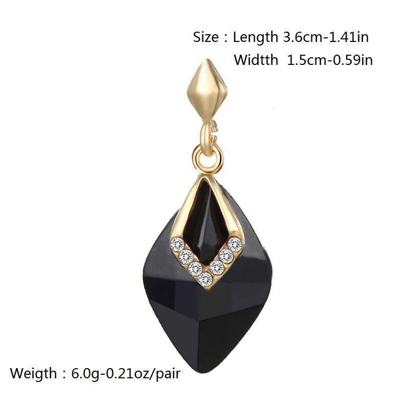 CARTER LISA Luxury Big Crystal Geometry Dangles Long Earrings For Women Elegant Black Crystal Jewelry Party Gold Earring Brincos