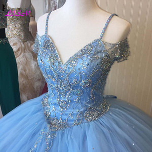 Image 3 - Luxury Crystals Ball Gown Quinceanera Dresses Sweetheart Long Sweet 16 Princess Dress Puffy Tulle Prom Party Gowns Custom Made