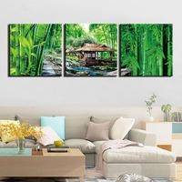 3 Pieces Canvas HD Prints Posters Home Decor Wall Art Painting Bamboo House Scenery Pictures For Living Room Framework