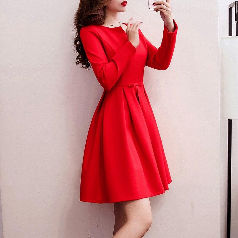 Plus Velvet Red Dress For Toast Bride Autumn And Winter Marriage Dress Pregnant Women Dress Long Sleeve Engagement Huimen Evenin