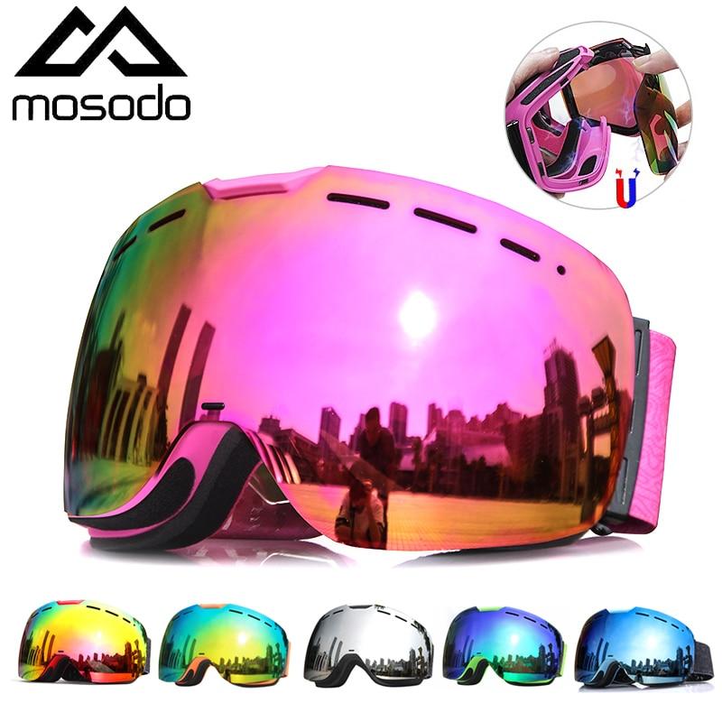 Mosodo Magnetic Ski Goggles Snow Eyewear Spherical Winter Snowboard Glasses Anti-fog Outdoor Skate Skiing Goggles for Men Women