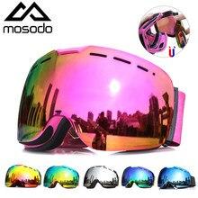 Mosodo magnético óculos de esqui neve eyewear esférico inverno snowboard óculos anti-nevoeiro ao ar livre skate óculos de esqui para homens