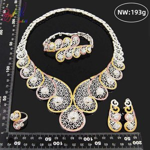 Image 3 - Yulaili High Quality Dubai Gold Jewelry Sets African Nigeria Wedding Bridal Crystal Necklace Earrings Bracelet Ring for Women