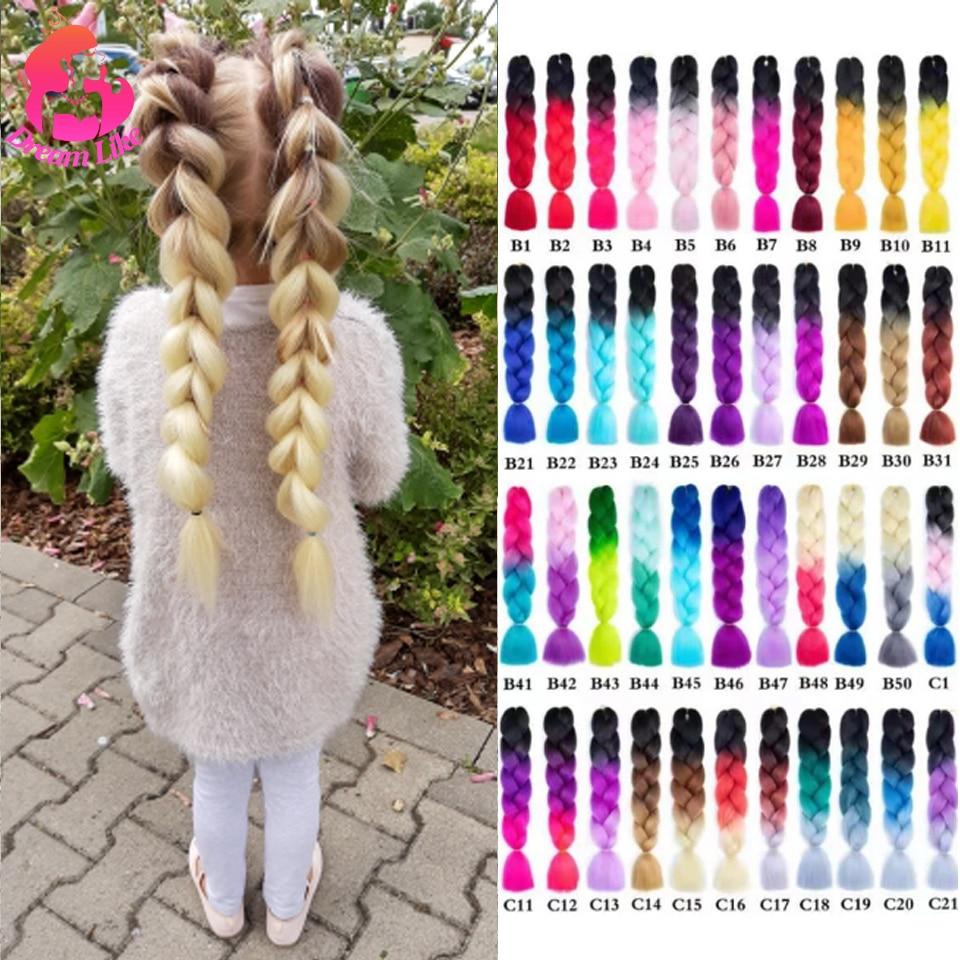Sonho como jumbo trança de cabelo 24 polegadas puro/ombre cor sintético trança cabelo extensões kanekalone fibra resistente ao calor por atacado