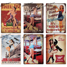 Sexy Girl Vintage Metal Sign Plaque Metal Vintage Metal Poster Pin Up Girl Tin Sign Wall Decor Bar Pub Club Man Cave Retro Signs(China)