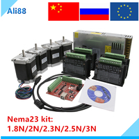 ES&RU free VAT ! 3/4 axis stepper motor Kit:Nema23+TB6600/DM542 motor driver+MACH3 interface board+ power supply 350W CNC parts