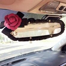 Camellia Bloem Auto-interieur Achteruitkijkspiegel Cover Leather Auto Achteruitkijkspiegel Decoratie Accessoires Voor Vrouwen En Meisjes