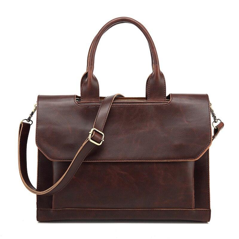 Crazy Horse Messenger Bag Full Grain Document Men Handbag Black Leather Briefcases Work Bag With Compartments Business 0014