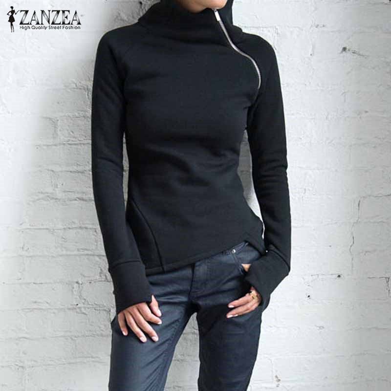ZANZEA 2019 New Women Casual Solid Long Sleeve Pullovers Hoodies Turtleneck Slim Fit Zippers Autumn Spring Plus Size Sweatshirts