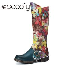 SOCOFY Women's Cowhide Knee High Boot Low Chunky Heel Round Toe Zip Casual Shoes