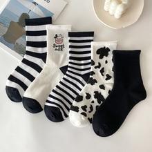 Cotton Women Sock Calcetines Animal-Print Harajuku Japanese-Style Cartoon Lovely Casual