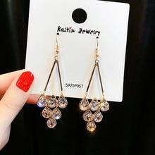 2019 Korean Three Water Drop Dangle Earrings Multicolor Austrian Crystals Luxury Wedding Earing for Brides недорого