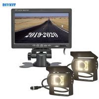 DIYKIT 2 x 4pin LED Night Vision CCD Rear View Camera Kit + DC 12V 24V 7inch TFT LCD Car Monitor System for Bus Houseboat Truck