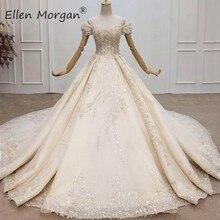 יוקרה גבישי תחרה כדור שמלות חתונה שמלות לנשים סעודית אלגנטי כבוי כתף חרוזים כלה שמלות 2020