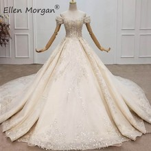 Luxury Crystals Lace Ball Gowns Wedding Dresses for Women Saudi Arabian Elegant Off the Shoulder Beaded Bridal Gowns 2020