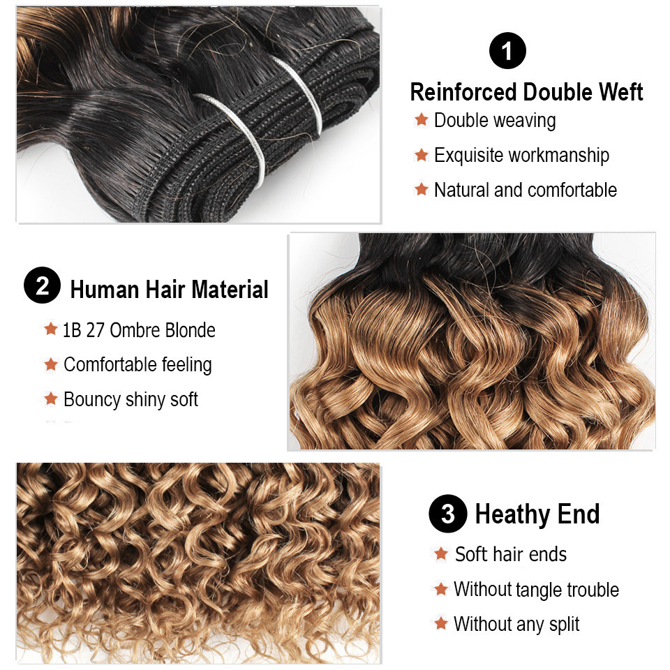 Image 3 - Bobbi Collection 1 Bundle T 1B 27 Ombre Honey Blonde Brazilian Water Wave Hair Weave 10 24 inch Non Remy Human Hair ExtensionHair Weaves   -
