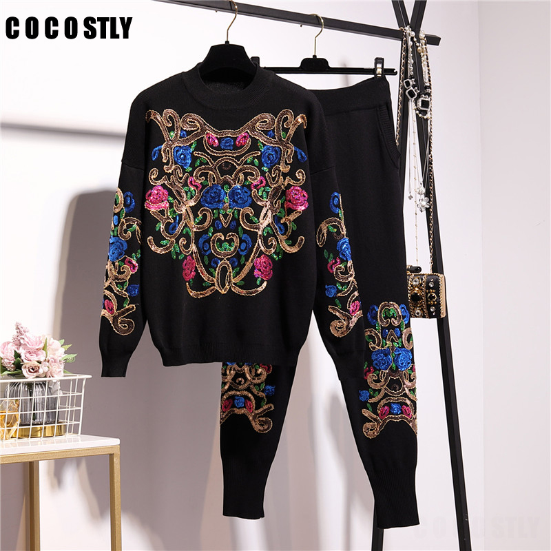 High Quality Desiger Tracksuit Women Pantsuit Floral Embroidered Sweaters+casual Pants 2pieces Set Women Leisure Suit