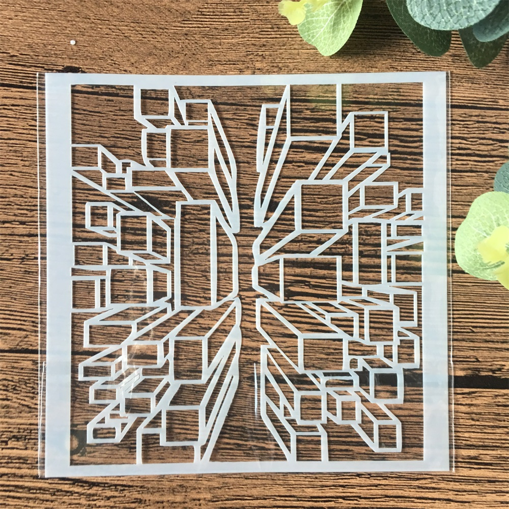 13cm 3D Cube DIY Craft Layering Stencils Wall Painting Scrapbooking Stamping Embossing Album Card Template