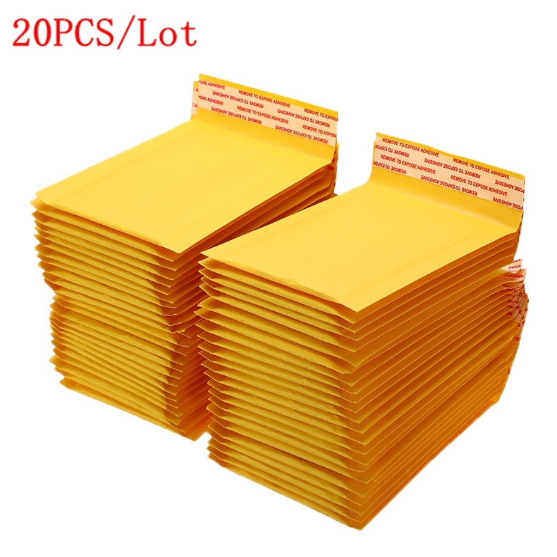 20Pcs/Lot Different Size Mailing Bags Yellow Kraft Paper Bubble Envelope Bag Moistureproof Self-Seal Shipping Bags Drop Shipping