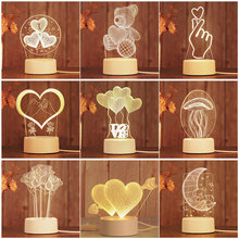 Romantic Love 3D Lamp Heart-shaped Balloon Acrylic LED Night Light Decorative Table Lamp Sweetheart Wife's Valentine's Day Gift