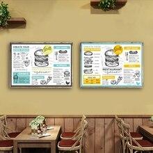 Menú mantel comida restaurante folletos carteles e impresiones menú creativo Vintage volante arte lienzo pintura restaurante decoración de la pared