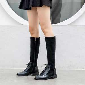 Image 2 - Krazingポット本革パッチワークフロックストレッチブーツ英国のレースアップファッションサイドジップ保温女性はブーツを腿l22
