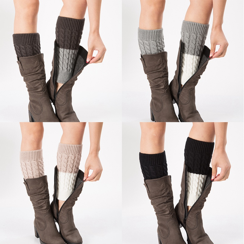 Pratical Leg Warmers Winter New Women Fashion Creative Patchwork Thermal Acrylic Knitted Boot Cuffs Socks Cover Shoe Accessories