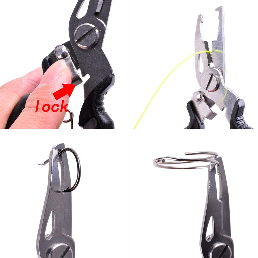 Multi Functional Fishing Pliers Scissors Line Cutter Hook Remover Fishing Clamp Accessories Tools With Lanyards Spring Rope 2