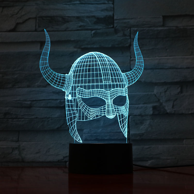 2019 Best Selling 3D Lamp Viking Helmets Visual Light Effect Color Changing With Remote Best Decoration Led Night Light Lamp