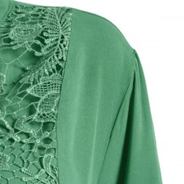 Plus Size Blouse women блузка женская Summer autumn tops and blouses Button Lace V Neck Long Sleeve shirts Free shipping #3 5