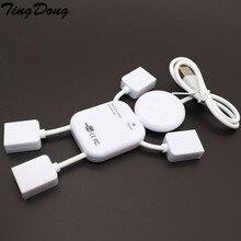 4 Port USB 2.0 yüksek hızlı Hub Doll Man tasarım PC dizüstü bilgisayar için USB Hub beyaz bağlamak için USB fare sabit diskler tak ve çalıştır