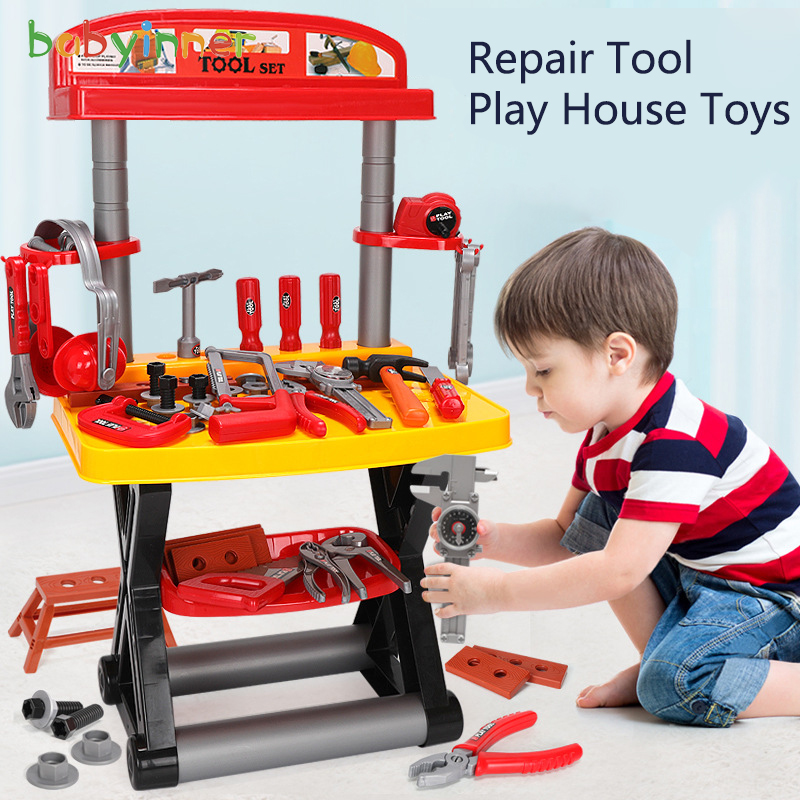 Baby Inner Toolbox Children Play House Toys Model Maintenance Tool Bar Suitcase Toys Set> 3 Years Old Toys For Children Boys