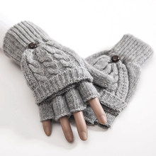 Women Thermal Hand Warmer Gift Artificial Wool Gloves Mittens Autumn Winter Flip Soft Knitted Half Finger Thicken 1 Pair(China)