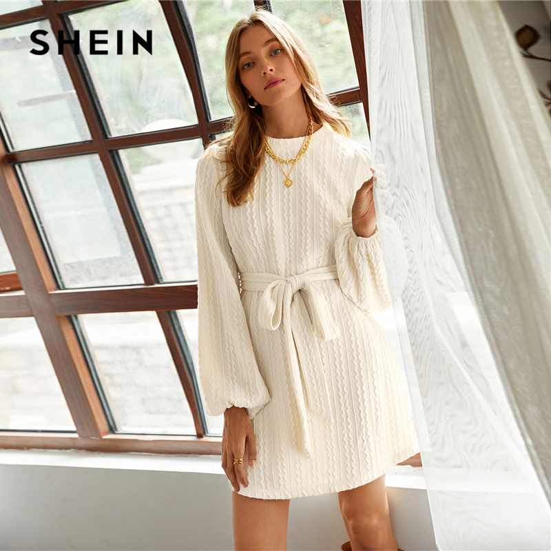 SHEIN Beige Bishop Sleeve Cable Knit Belted Dress Women Winter Boat Neck Solid Straight Casual Short Dresses|Dresses| - AliExpress