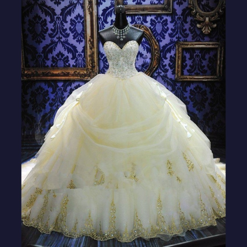 Luxury Wedding Dresses Ball Gown 2015 Beaded Bridal Gown Cathedral Wedding Gowns Sweetheart Vestidos De Noiva Robe De Mariage