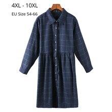 Plus Size 10XL 9XL 8XL 4XL Women Long Sleeves Autumn Spring Blouses Korean Style Casual Clothing Female Plaid Cotton Shirt