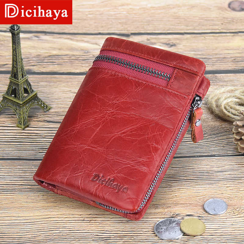 DICIHAYA Pendek Dompet Wanita Koin Dompet Koin Merah Dompet Asli Kulit Wanita Zipper Desain dengan Dompet Koin Kantong Dompet Kecil