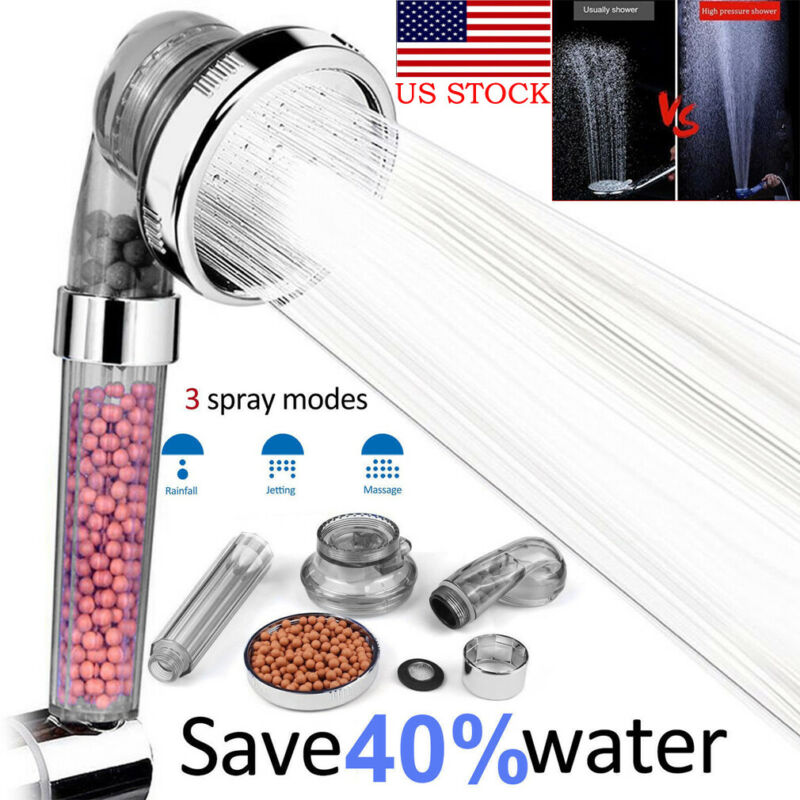 High Turbo Pressure 40 Percent Water Saving Laser Ionic 3 Filters Shower Head US