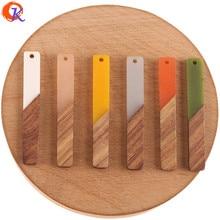 לבבי עיצוב 50Pcs 8*51MM DIY עגילי ביצוע/יד/מקל צורת/טבעי עץ & שרף/תכשיטי אביזרי/עגיל ממצאי
