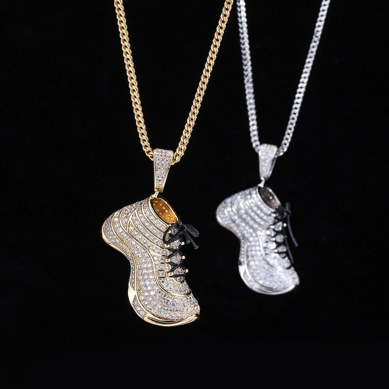 Nouveau cubique Zircon couleur or grande chaussure pendentif collier Hip Hop populaire Style de rue en acier inoxydable avant chaîne arrière
