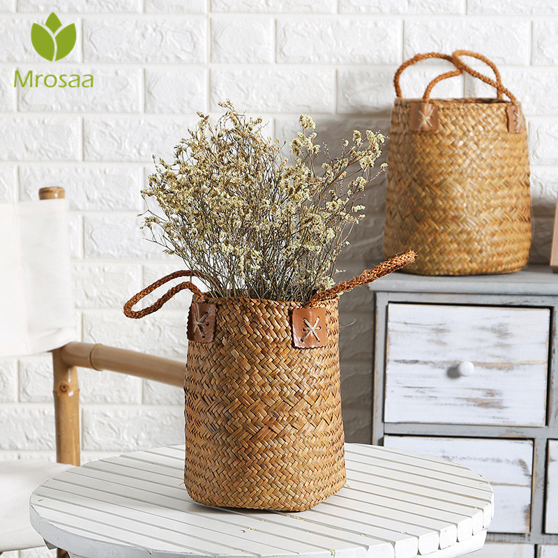 S/L Pcs Natural Seagrass Woven Flower Basket Pot Vase Laundry Baskets Home Storage Baskets Organizer With Handle Decoration(China)