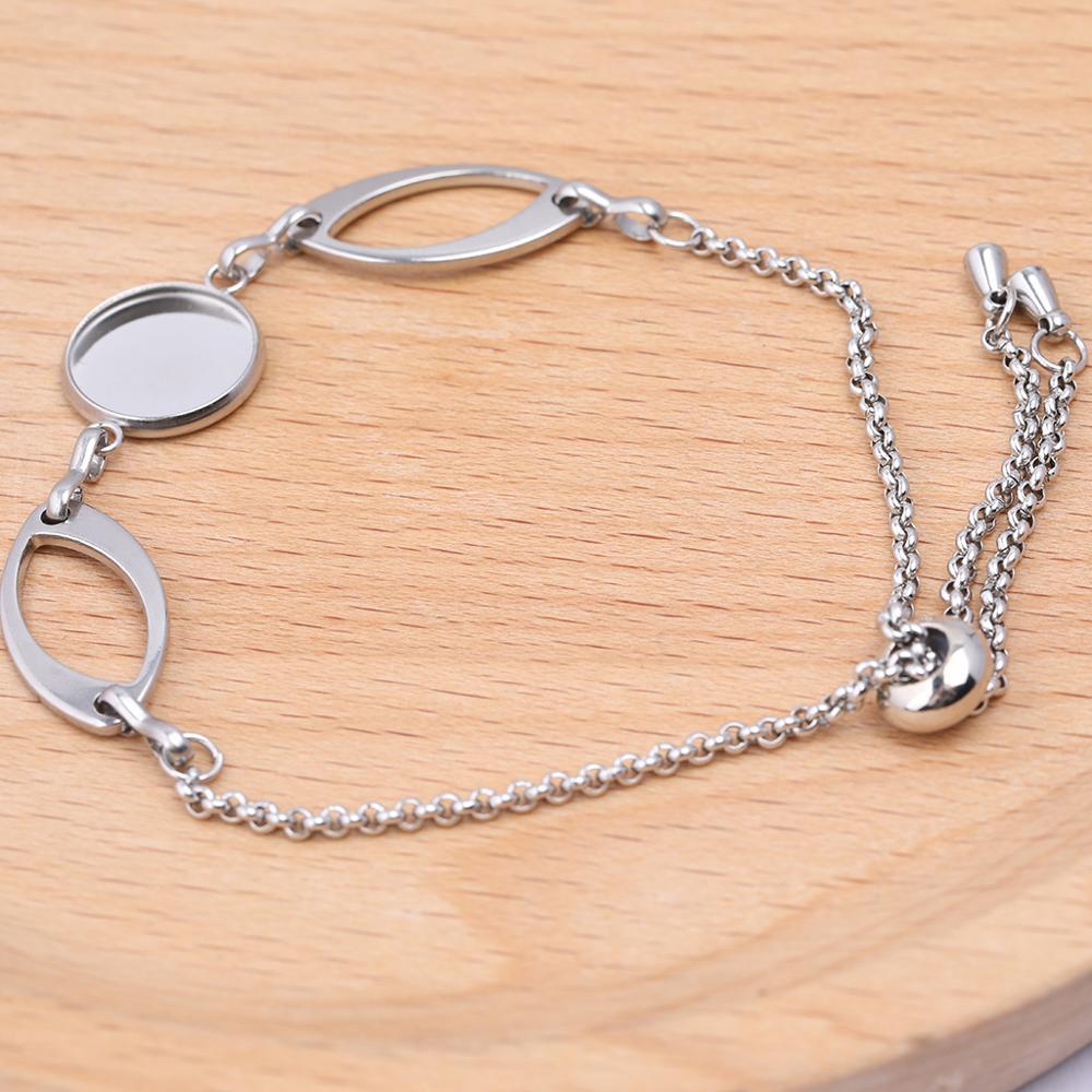 2pcs Fit 12mm Round Cabochon Bracelet Setting Blanks Stainless Steel Ajdustable Chain Bracelets Bezel Findings