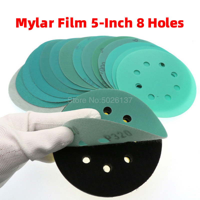 1Pcs 5-INCH 8-HOLE 125MM Water Wet Dry Sanding Disc Hook Loop Sandpaper Round Disk Sand Sheet Green Skin Polyester Film Grinding